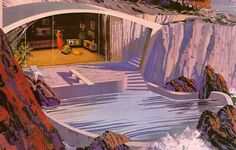 Retro-Futuristic Home Designs by Charles Schridde Futuristic Home, Futuristic Architecture, Architecture Collage, Chinese Architecture, Architecture Office, Architecture Design, Mid Century Art, Mid Century House, Illustrations Vintage
