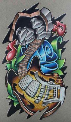 3d Leg Tattoos, Music Tattoos, Sleeve Tattoos, Cartoon Drawings, Cartoon Art, Art Drawings, Graffiti Drawing, Graffiti Art, Ed Hardy Designs