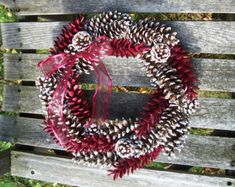Pine Cone Wreath, Frosted (two kinds of cones) and Burgundy Painted Pine Cones. Door Wreath, Wall Decor, Christmas, Holiday, Gifts.