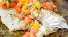 This simple grilled walleye with mango salsa recipe makes a quick and easy summertime dinner. Now's the perfect time for fresh summer seafood! Grilled Walleye, Walleye Recipes, Mango Salsa Recipes, Fish Dishes, Cooking Time, Seafood, Grilling, Meals, Dinners