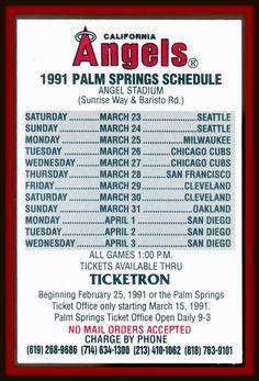 1991 CALIFORNIA ANGELS TICKETRON SPRING BASEBALL POCKET SCHEDULE PALM SPRINGS #Pocket #Schedule