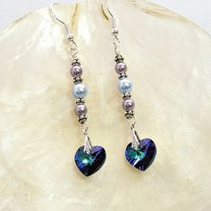 Swarovski Crystal Earrings AB Heliotrope Heart by SeaWitchsCavern