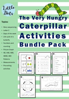 The Very Hungry Caterpillar Theme: Pre-Writing Printables The Very Hungry Caterpillar Activities, Caterpillar Book, Hungry Caterpillar Party, Sequencing Worksheets, Sequencing Cards, Story Sequencing, Preschool Phonics, Preschool Printables, Preschool Learning