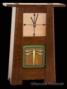 Craftsman style clock in quarter-sawn white oak, maple, and ebony.
