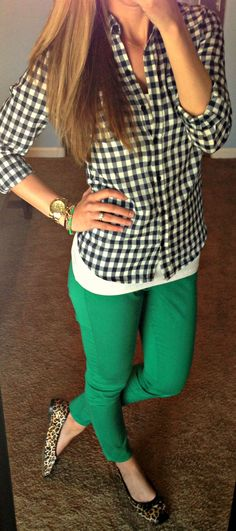 Green pants with black gingham. Posted by Katie's Closet.