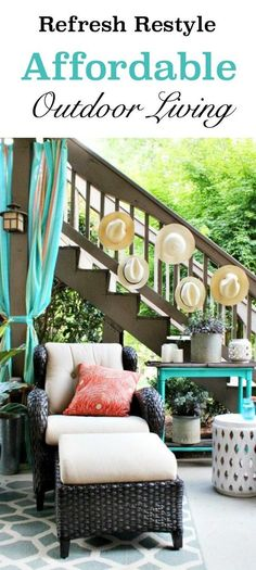 Affordable outdoor living ideas with Better Homes and Gardens - no sew curtains and more at Refresh Restyle