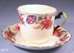Plant Tuscan Hand-Painted Floral Vintage Bone China Tea Cup and Saucer Pattern 388A