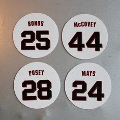 San Francisco Giants Magnets Franchise Four - Bonds, Posey, McCovey, Mays San Francisco Baseball, San Francisco Giants, Willie Mays, Buster Posey, Christmas Presents, Bond, Magnets, Xmas Gifts, Christmas Gifts