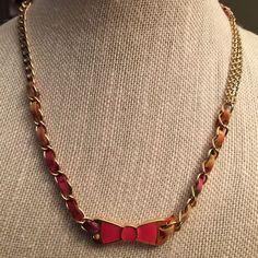 Vera Bradley Gold Tone Hobo Bow Necklace