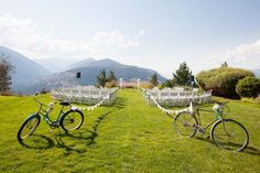 vintage bicycles + bunting as ceremony decor. Photo by Amelia Soper Photography.
