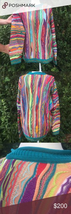 Vintage 90s  Hip Hop COOGI SWEATER (L) Vintage 90s Hip Hop Coogi Sweater. Size L Bold & Vibrant 'One Of A Kind',  Is sure to Please !   Made in Australia. Light Wear consistent with age but no holes stains etc .Unisex Sweater. COOGI Sweaters Crewneck