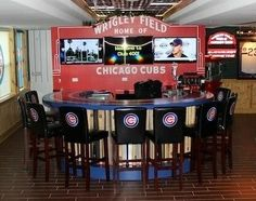 Cub Bar-Man Cave  -  Who says it can only be for men?  Looks like a nice Lady Cave, too.  Just change one thing -- make it with Phillies gear.
