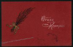 Image 1 of Austria 1910 Embossed Krampus Color Postcard