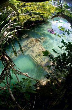 Japanese WWII warplane in shallow water off Guam.