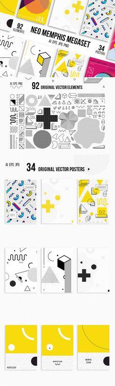 Neo Memphis Mega Set - Mega set of 34 vector posters and backgrounds, 92 original vector elements for your ...