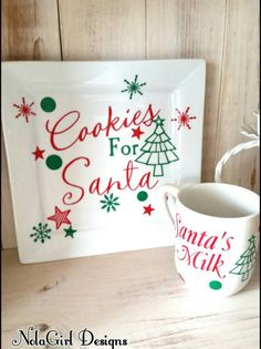 Cookies for Santa plate Set,Vinyl Decorated Santa Plate, Cookies, Santa… Christmas Vinyl, Christmas Plates, Noel Christmas, Christmas Signs, Christmas Decorations, Christmas Items, Christmas Cookies, Cookies For Santa Plate, Santa Plates