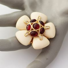 Joan Rivers Brooch Pin Pendant Cream Plastic w/ Red Cabochons VTG | Jewelry & Watches, Vintage & Antique Jewelry, Costume | eBay!