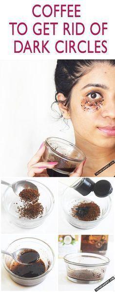 2 tbsp of coffee beans + 2tbsp of coconut oil. Apply under eyes. Masage 3-4 min. #DarkCirclesRemedyDIY