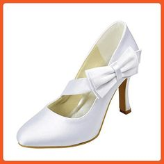 3743807861e4ac Minishion Girls Womens Slip-on Ivory Satin Evening Shoes Bridal Wedding  Pumps US 10.5 -. Mariage Pourpre Et D'argentChaussures ...