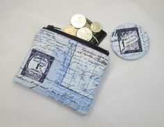 This is a lovely little coin purse and matching pocket mirror set that has been made with white fabric with a vintage style postcard image on it. The coin purse is fully lined and measures approx. x The pocket mirror measures Mirror Set, Free Uk, Coin Purse, June, Handmade Items, Vintage Fashion, Crafty, Pocket, Pearls