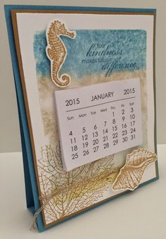 Kathryn's Stampin' World - Stampin' Up! By The Tide, Calendar Display Card, Clear Block Technique