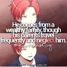 The only attention they ever showed him was sending him a single present home for both Christmas and his birthday since they're they same day. That and sending him texts to let him know what new place they've gone to next. Karma Kun, Nagisa And Karma, Anime Life, Sad Anime, Anime Guys, Koro Sensei Quest, Classroom Memes, Haikyuu, Nagisa Shiota