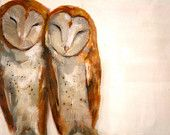 """Snuggling Barn Owls // Original Painting on Antique Glass // 26"""" x 26"""""""
