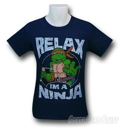 TMNT Relax I'm a Ninja 30 Single Navy T-Shirt