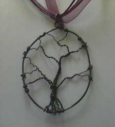 Handmade Tree of Life Pendant   Bronze Gunmetal Copper Wire   2 3/4 x 1 1/2