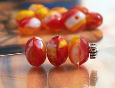 Chunky Lemon Cherry Swirl Donut Czech Glass Beads by simplypie