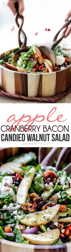 Apple Cranberry Bacon Candied Walnut Salad with Apple Poppy Seed Vinaigrette belongs on your table! The perfect STRESS FREE make ahead side or main!