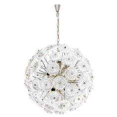 Mid-Century Modern Snow Ball Chandelier, Silver and Crystal, Hotel Deutscher Hof   From a unique collection of antique and modern chandeliers and pendants at https://www.1stdibs.com/furniture/lighting/chandeliers-pendant-lights/