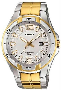 Men's Two Tone Stainless Steel Edifice Silver Tone Dial Casio. $79.95. Casio Men's Mtp1305sg-7av Silver and Gold Stainless-steel Quartz Watch with White Dial Limited Edition