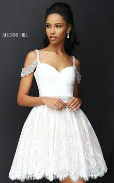 Ivory Sherri Hill 50503 Short A Line Lace Homecoming Dress