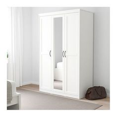 IKEA SONGESAND wardrobe You save space with a mirror door, because you don't need a separate mirror.