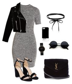 """""""Black & gray"""" by t-elks on Polyvore featuring мода, French Connection, Nasty Gal, The Kooples, Yves Saint Laurent, CLUSE и Pantone Universe"""