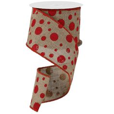 """Burlap Polka Dot Ribbon Size: 4"""" width; 10 yards length Color: Natural, Red Wire Edge"""