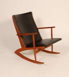 Søren Georg Jensen; Teak and Leather 'Grasshopper' Rocking Chair for Georg Jensen, 1958.