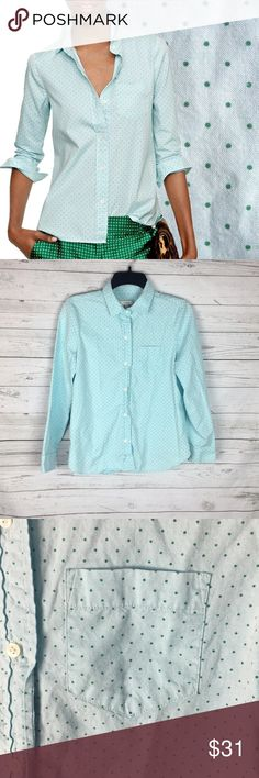 "J. Crew Shrunken Shirt in Dot Oxford | Good Condition | Light blue with green dots | Chest Pocket | Shaped Seams at the bust | Button Down | adjustable sleeves | 100% Cotton | 079 |   Chest: 16"" Length: 23"" J. Crew Tops Button Down Shirts"