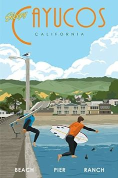 Steve Thomas Cayucos, CA Giclee Print - 12x18 Framed - would love to have this...available on Etsy