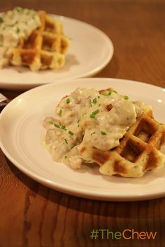 There's no better breakfast than a southern staple like Biscuit Waffles with Sausage Gravy!