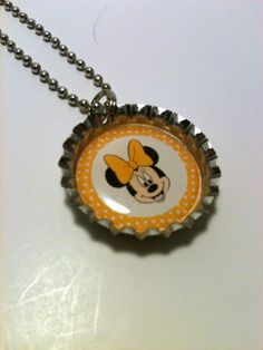 Yellow Minnie Mouse bottle cap necklace by LillypadPark on Etsy, $4.95