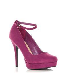 Purple Ankle Strap Court Shoes