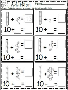 Free Math Addition Worksheet for Kindergarten Free spring math worksheet. Add the base ten blocks and write the missing numbers. More spring worksheets available. Check out my spring pro Kindergarten Addition Worksheets, Free Math Worksheets, Writing Worksheets, Printable Worksheets, Math Worksheets For Kindergarten, Worksheets For Teachers, Kindergarten Common Core, First Grade Worksheets, 1st Grade Math