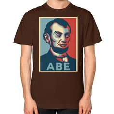 """""""ABE LINCOLN """"HOPE"""" DESIGN"""" UNISEX T-SHIRT (Color : Brown) - By Gordons Wear"""