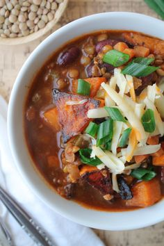 Protein packed Vegan Chili with Beans & Lentils. Featuring Roasted Butternut Squash.