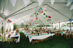 Her tent!  So pretty!  So airy!  So not 'tent-camping-revenge-of-the-damp-canvas.'  Does not look like a school or camp or church event.  Looks, in fact, like a fun party.