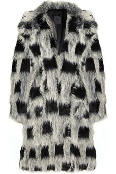 21f7a215850 Anna Sui Checked faux-fur coat Anna Sui coat has bracelet-length sleeves
