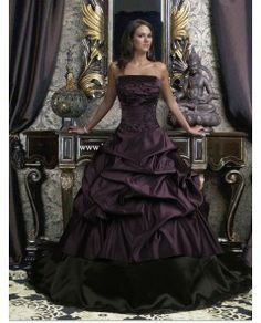 Black and Purple Strapless Gothic Wedding Dress