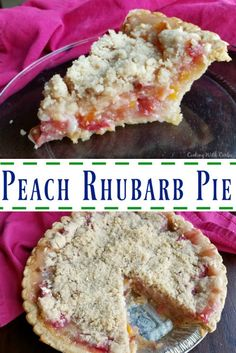 Peach Rhubarb Pie Peach rhubarb pie combines the tart taste of spring with summer's sweet fruit. Peach and rhubarb come together under a golden streusel in this perfect fruity pie. Rhubarb Desserts, Rhubarb Recipes, Just Desserts, Delicious Desserts, Yummy Food, Frozen Rhubarb Pie Recipe, Cooking Rhubarb, Rhubarb Custard Pies, Necklaces
